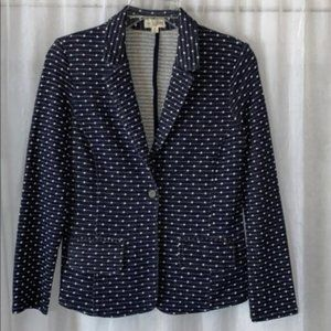Maison Jules Polka Dotted Stretch Fitted Blazer Jacket